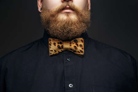 red tie: Part of mans face with red beard. Black t shirt and leopard bow tie. Isolated on grey background. Stock Photo