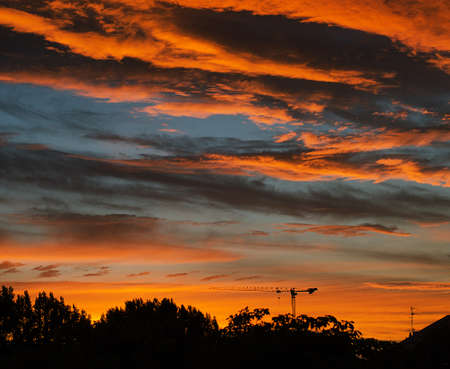 reveille: Colorful sunset sky. Stock Photo
