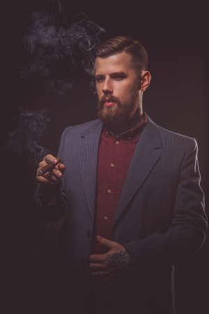 cigare: Bearded hipster man in a suit smoking cigare. Stock Photo