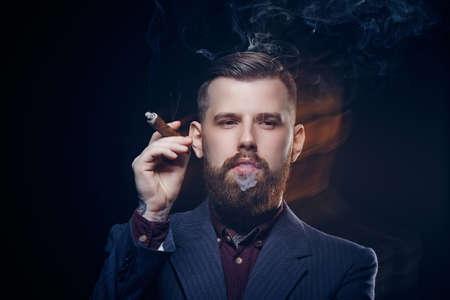 cigare: Bearded guy smoking cigar. Stock Photo