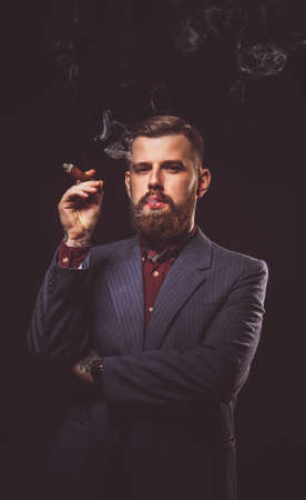 Stylish man in a suit smoking cigar. Stock Photo