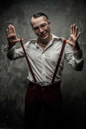 Freak guy in white shirt and glasses.