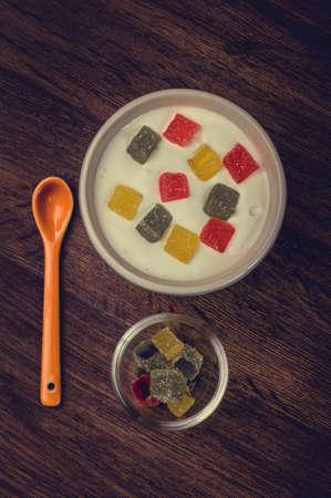 jellybean: Sweet meal from milk.