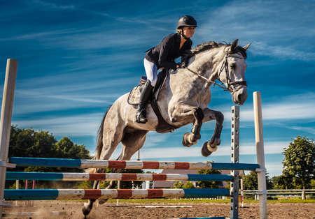 jinete del caballo en la acción bajo el cielo azul. Foto de archivo