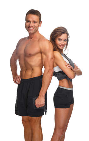 healthy men: Shirtless middle age sporty male and attractive slim female isolated on a white background.