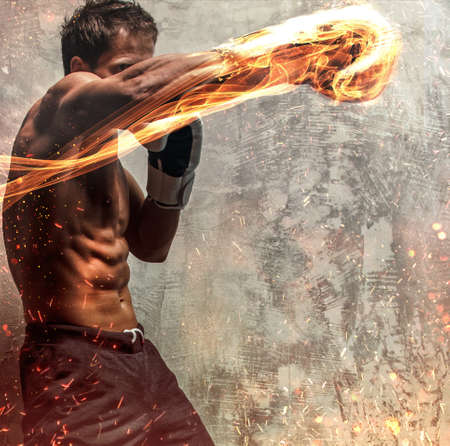 Portret van de vechter in brand vonken en rook.