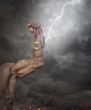 tempest: Cropped males arm with gold medal under lightning.