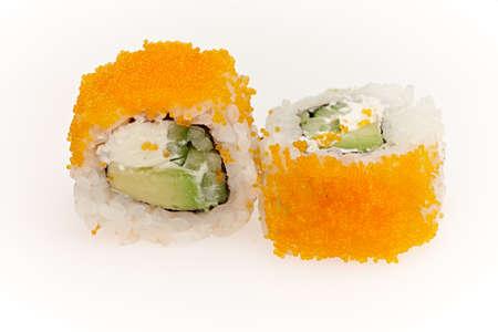 Delicious sushi isolated on white background. Stock Photo
