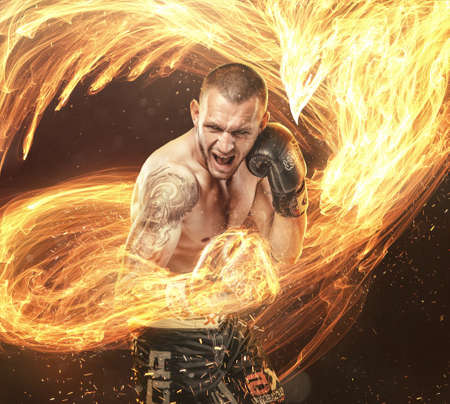 Fighters burning punch with phoenix fire bird on background. Stock Photo