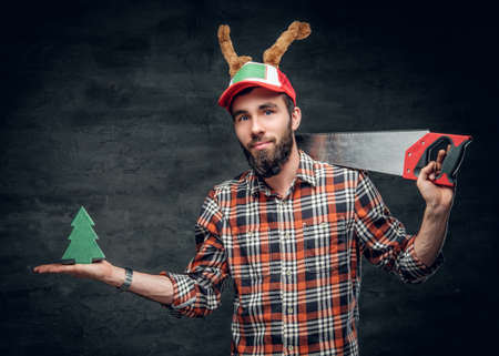 christmas scene a bearded carpenter man in a plaid shirt and a hat with holiday - Christmas Plaid Shirt