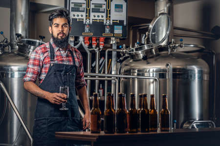 Indian bearded tattooed hipster male manufacturer tasting craft beer in the microbrewery. Stock Photo