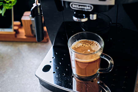 black appliances: Professional coffee machine for home use.