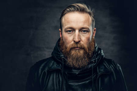 Dramatic studio portrait of redhead bearded male dressed in a leather jacket over dark grey vignette background. Reklamní fotografie