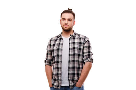 Attractive bearded casual male isolated on white background.