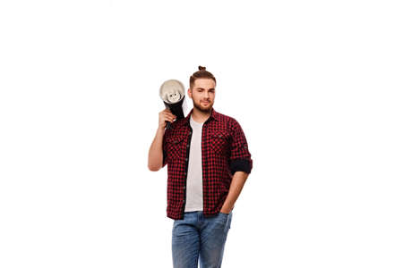 Casual bearded lighting director isolated on white background. Stock Photo