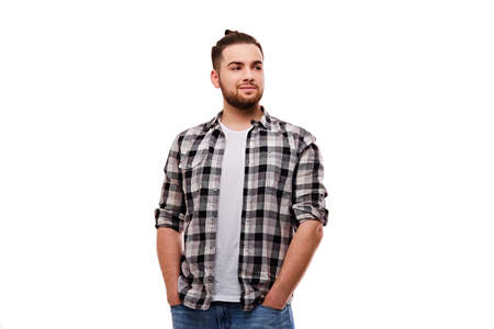 hairdresser: Attractive bearded casual male isolated on white background.