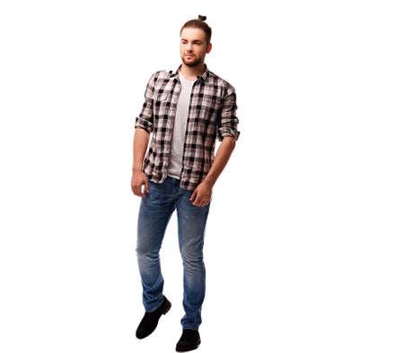 throttle: The full body image of bearded urban male isolated on white background.