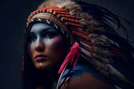Close up portrait of shamanic female with Indian feather hat and colorful makeup. Фото со стока - 86446109