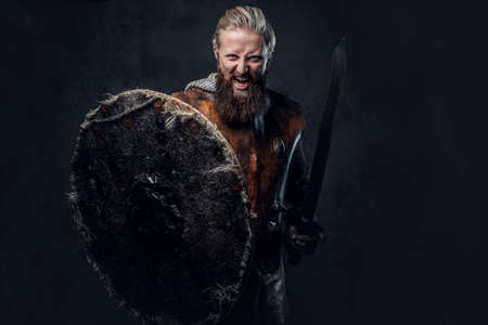Viking dressed in Nordic armor holds a shield and silver sword.