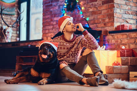A man with a dog. Stock Photo
