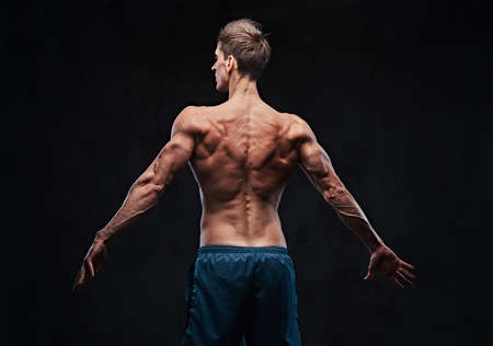 Muscular male. Back view. Stock Photo