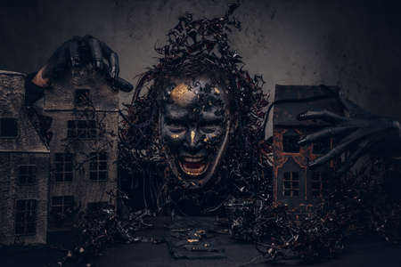 Make-up and horror concept. Abandoned city, absorbed by decompos