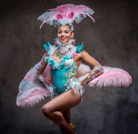 Beautiful girl in a sumptuous carnival feather suit. Standard-Bild