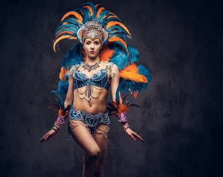 Studio portrait of a female in a colorful sumptuous carnival feather suit. Isolated on a dark background.