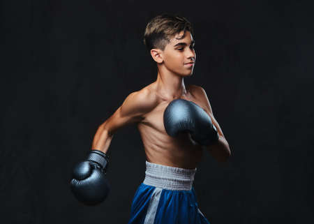 Handsome shirtless young boxer during boxing exercises, focused on process with serious concentrated facial. Banco de Imagens