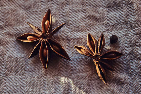 Photo of the fruits of cinnamon lying on a fabric canvas Фото со стока
