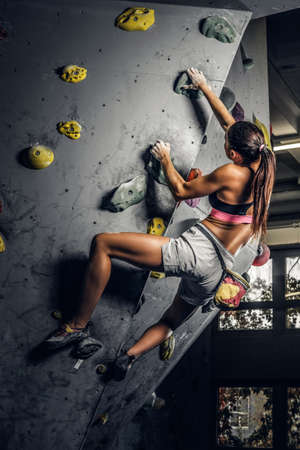 A young woman wearing sportswear practicing rock-climbing on a wall indoors