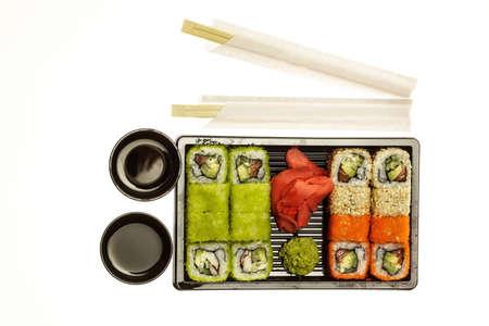 Sushi Rolls Set, maki, philadelphia and california rolls, on a white background.