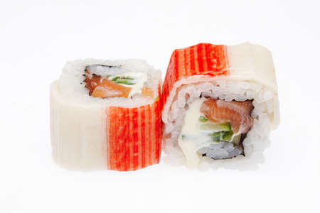 Two pieces of Japanese sushi isolated on a white background