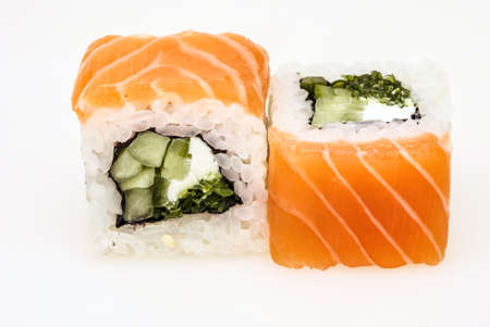 Two pieces of Japanese sushi with salmon isolated on a white background Reklamní fotografie