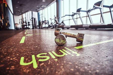 Sport, fitness, health. Dumbbells lying on the floor in the fitness center