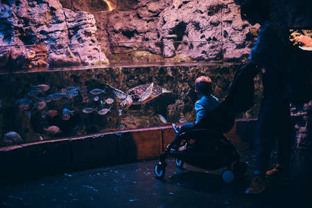 Mother with her little boy watching the marine life in the oceanarium