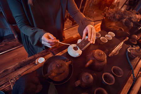 Chinese tea ceremony. Oriental master wearing a gray dress making natural tea in the dark room with a wooden interior. Tradition, health, harmony Stock Photo