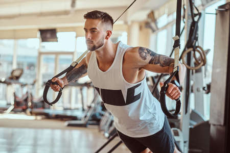 Attractive powerful bodybuilder is doing exercises on training apparatus at sunny gym. Stock Photo