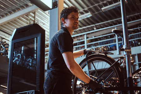 Young attractive mechanic is fixing customers bicycle at his own workshop. Stock Photo
