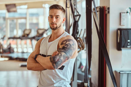 Portrait or attractive tattoed bodybuilder. Sunny gym with training apparatuses at background.