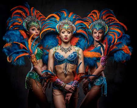 Studioporträt einer Gruppe professioneller Tänzerinnen in farbenfrohen, prächtigen Karnevalsfederanzügen. Auf dunklem Hintergrund isoliert. Standard-Bild