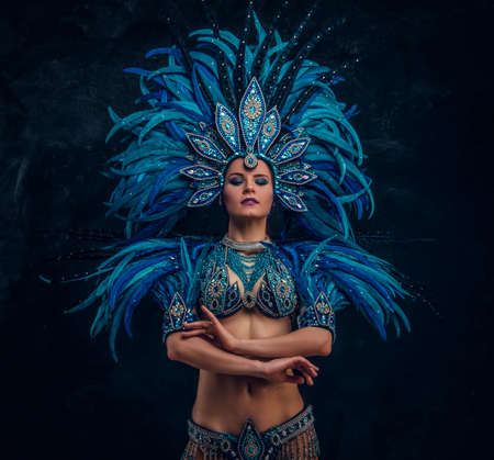 Hermosa bailarina está de pie cruza las manos. Lleva un traje de plumas azules. Foto de archivo