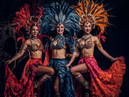 Three beautiful young womans in traditional brasilian carnaval costumes are posing for photographer at studio. Stock Photo
