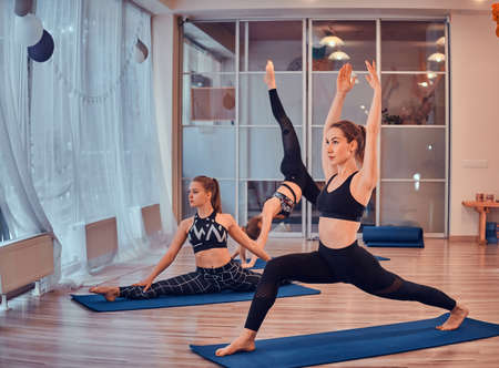 Best friends are enjoying yoga and pilates exercises at bright and airy room.