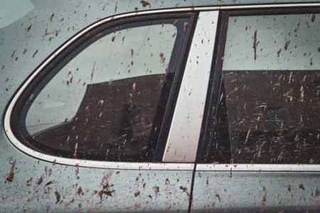 Close-up image of a dirty car after a trip off-road. Side window. Stock Photo