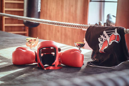 There are prizes on sunny boxing ring - cups and tshirt, and also equipment like red gloves and helmet. Foto de archivo - 131286017
