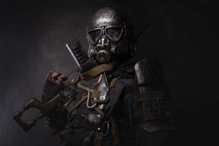 Amazing well made costume of dark apocalypse warrior.