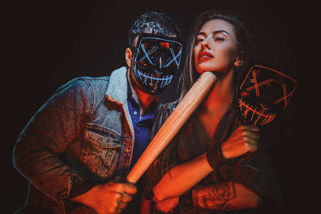 Couple wearing masks close up. Stockfoto