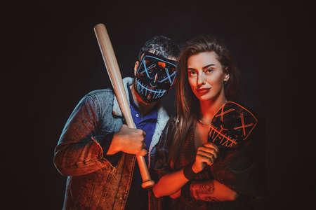 Couple wearing masks close up. Standard-Bild