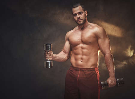 Young handsome bodybuilder is posing for photographer with dumbbells.